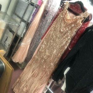 Dresses - Off Shoulder sequin beaded maxi dress